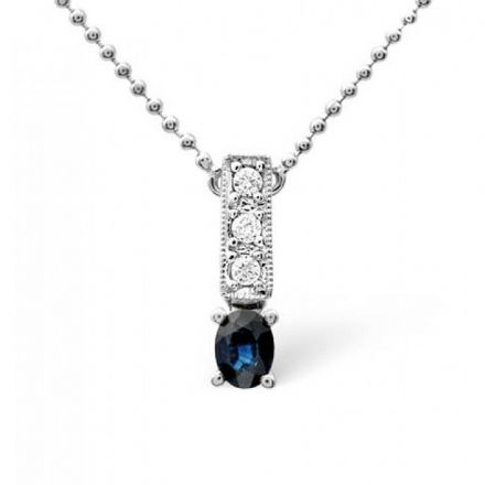 9K White Gold 0.05ct Diamond & Sapphire Necklace, B1125